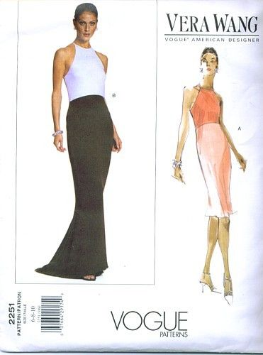 Vogue 2251 Vera Wang Evening Dress Sewing Pattern Sizes 6 8 10 ...