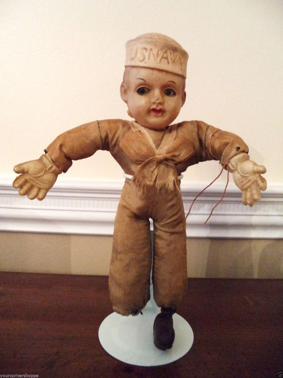 Antique 1930's American US Navy Sailor Doll!