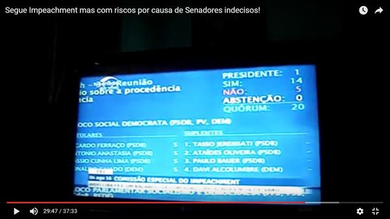 Segue Impeachment mas com riscos por causa de Senadores indecisos!