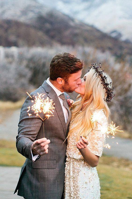 heart shaped sparklers | Callie Hobbs Photography | see more on: http://burnettsboards.com/2015/01/glamorous-fun-wedding-inspiration/