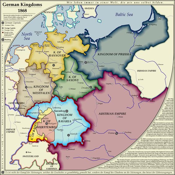Map of German kingdoms in 1868 including capitals and major cities. Original from on whanzel.deviantar...