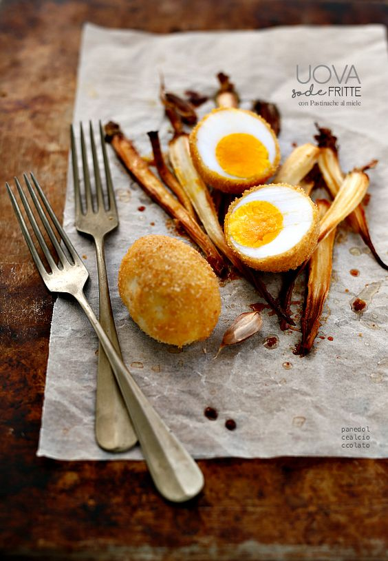 boiled eggs breaded and fried with honey Parsnips