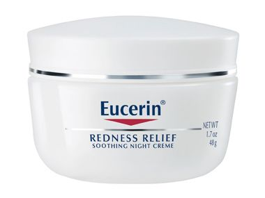 Eucerin soothing night cream redness relief white thick lotion moisturizer perfect for dry spots redness leave on as mask for irritated skin 1 peeling skin must - beauty bbc must - drugstore buy must have in bathrooms stock