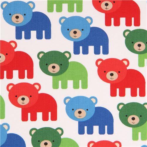 white Robert Kaufman fabric cute red green blue bear animal 2