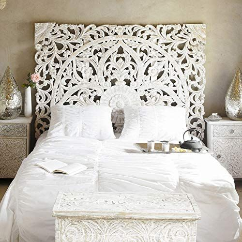 Amazon Com Balinese Hand Carved King Size Bed Headboard Reclaimed Wooden Panels Artwork Handmad In 2020 With Images King Size Bed Headboard Headboards For Beds Bohemian Headboard
