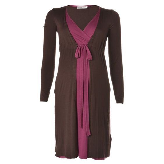 LABEL LAMèRE   Mock Double Layer Long Sleeve Dress in Brown - Moms and Maternity - kinderelo.co.za