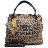 Michael Kors Classic Monogram Removable Strap Large Brown Tote