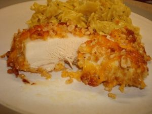 Cheddar Baked Chicken - moist, crunchy and yummy.