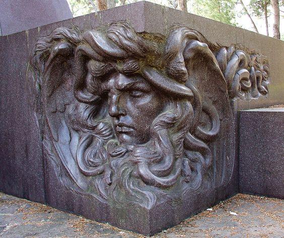 Medusa sculpture in Parco della Villa Borghese, Rome, Italy