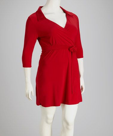 Take a look at this Red Collared Plus-Size Surplice Dress by Star Vixen on #zulily today!