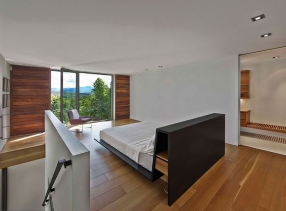 offener grundriss schlafzimmer dielenboden treppen verglasung ...