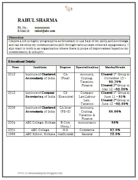 samples resumes for freshers simple sample resume format for