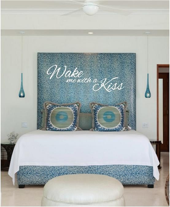 Always kiss me goodnight vinyl vinyl wall art decal for Blue bedroom ideas for couples