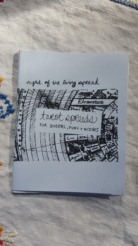 """Night of the Living Spread is a zine about tarot; """"spread"""" meaning a layout of cards. This zine is a total top-to-bottom DIY/how-to gem that will get you up and"""