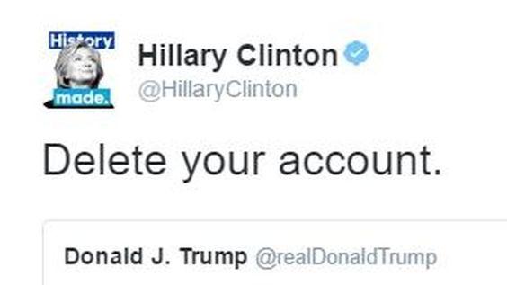 """""""Löschen Sie Ihren Account"""": Clinton geht Trump auf Twitter an"""