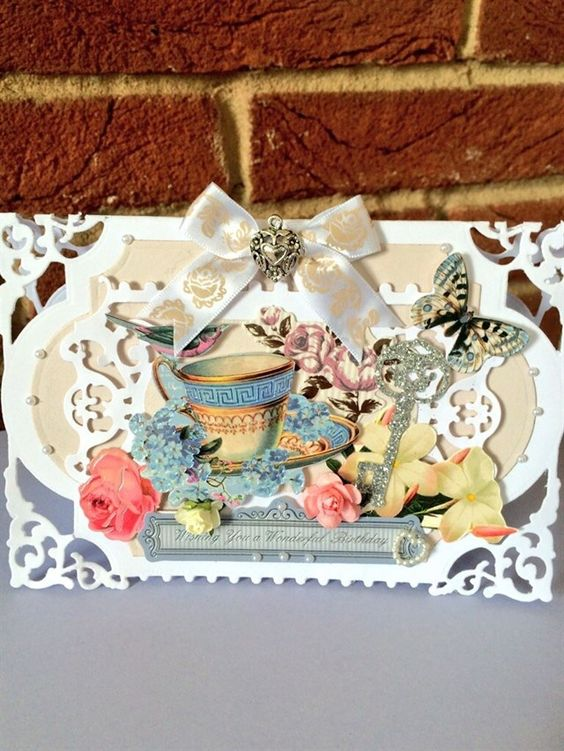 ChrissyBil | docrafts.com Shabby Chic style card made using spellbinders enchanted labels dies and Hunkydory Antique Chic toppers