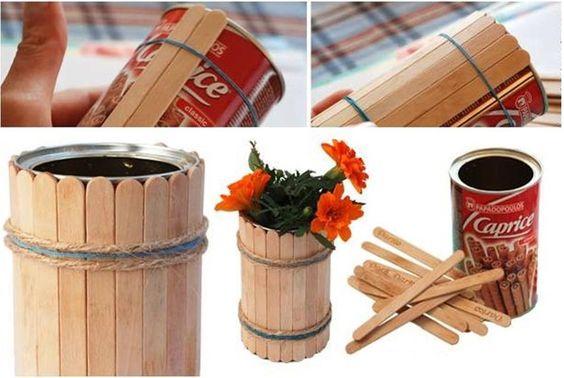 Cool Crafts with Popsicle Sticks   DIY Popsicle Stick Flower Vase