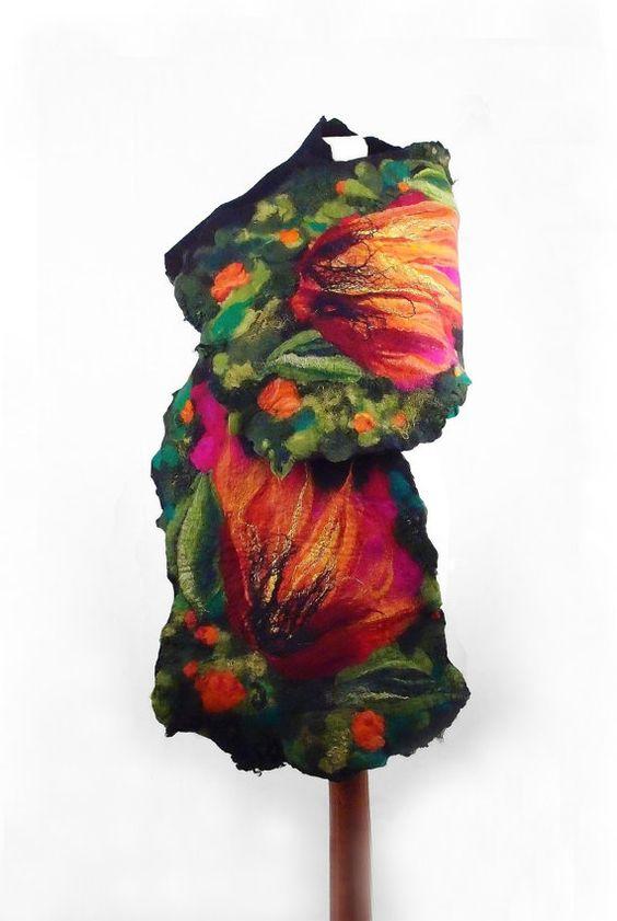 Felted Scarf Flower Wrap Nuno felt Scarves Felt flower by filcant, $119.00