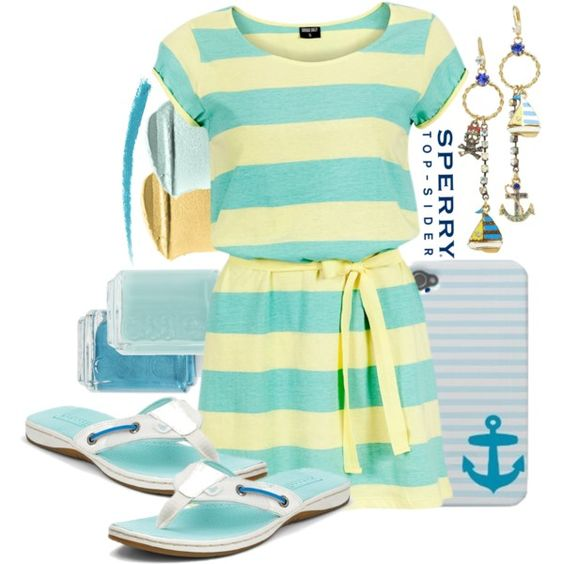 Sperry Top-Sider in Yellow and Aqua, created by itscindylou on Polyvore