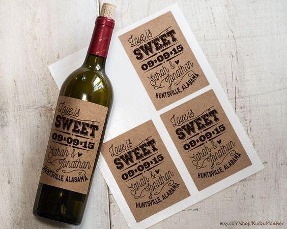 Kraft étiquettes de vin design personnalisé autocollants enregistrer la date de mariage cotillons, douche nuptiale bouteilles de 4 noms mariés et la date