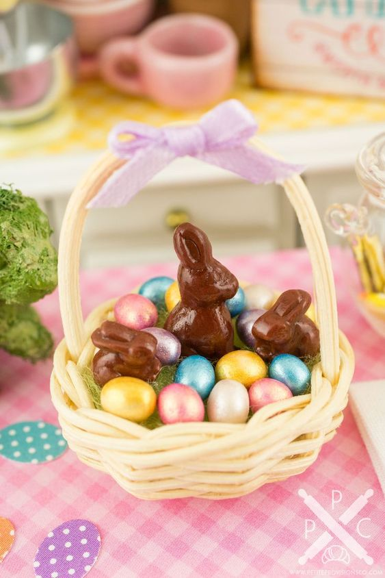 Easter Basket with Metallic Easter Eggs and Chocolate Bunnies - 1:12 Dollhouse Miniature - The Petite Provisions Co.