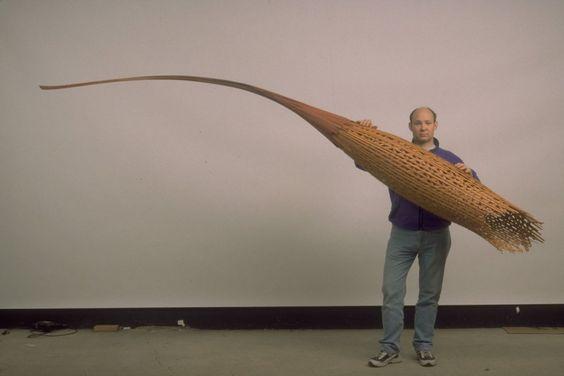 Brennock 1999, Cedar and mixed media, 128 x 12 x 48 inches,  Fritz Dietel Sculpture