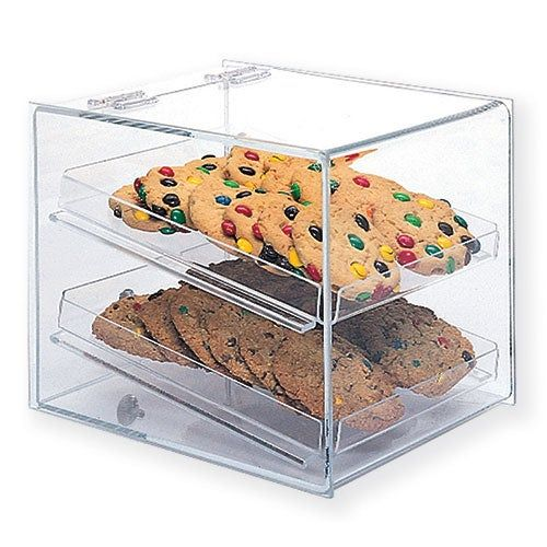 Acrylic Bakery Display Case Single Back Door Straight Front Two Trays In 2020 Cookie Display Case Bakery Display Countertop Display Case