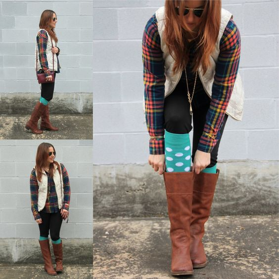 Layering - rainbow plaid flannel, cream vest, black leggings, polka dot knee high socks, brown knee-high boots