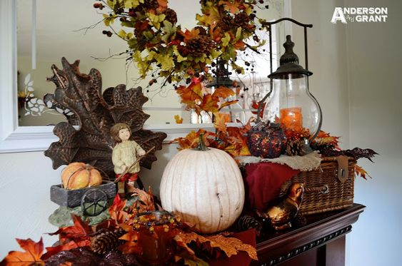 Rustic Meets Elegant Fall Mantel Display - anderson + grant