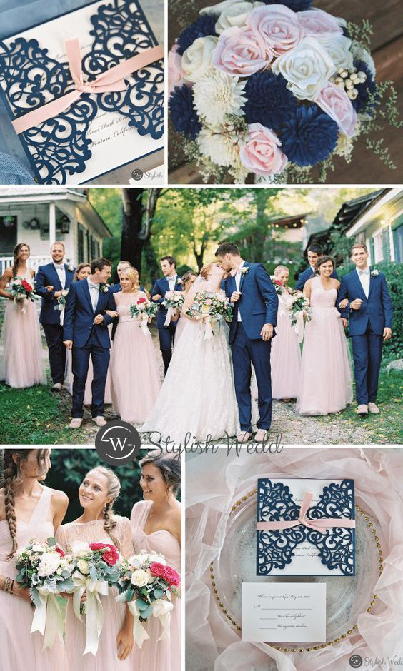 Romantic Navy Blue And Blush Wedding Invitations Swws076 Stylishwedd Blue And Blush Wedding Blush Wedding Invitations Pink Wedding Colors