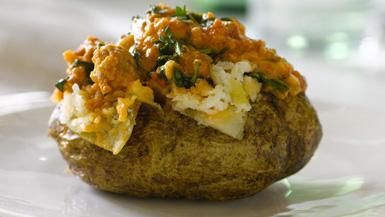 Giada De Laurentiis - Baked Potatoes with Sausage and Arugula Sauce