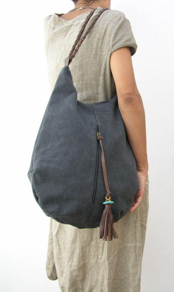 Gran lienzo negro vagabundo y bolso de cuero, bolso de hombro, bolso grande, llevan bolso, accesorios de mujer, bolsos hechos a mano, regalo para mamá