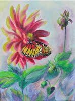 "Butterfly - original oil painting by Snejana Videlova,16""x12"", Oil/Acrylic, http://www.Facebook.com/SnejanaArt"