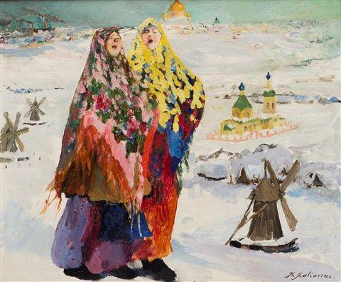 Two Peasant Girls by Filip Malyavin