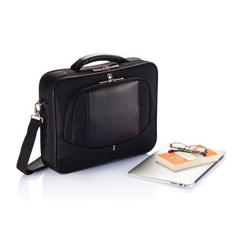 """XD Design Swiss Peak laptop bag. Swiss Peak is a laptop bag in high quality 1680D with a main 15.4"""" laptop compartment and separate zippered organizer in front. For all your travels there is a sturdy handle on top and detachable padded shoulder strap. Registered design®. Design by Tony Poon."""