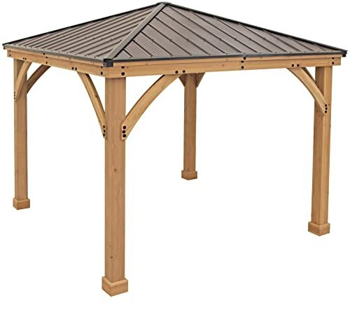 Best Seller Yardistry 10 X 10 Wood Gazebo Aluminum Roof Online Prettytrendyfashion In 2020 Gazebo Carport Designs Pergola Carport