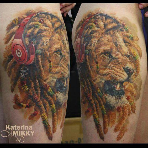 Rasta lion tattoo by Katarina Mikky