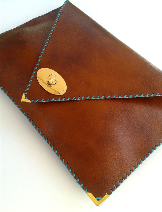 Handmade large leather clutch / Camel cow leather by AnaKoutsi