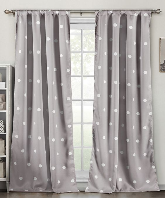Duck River Textile Gray Polka Dot Blackout Heavy Curtain Panel Set Of Two Gray Dots And Love