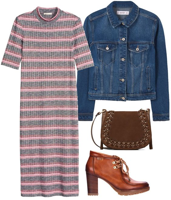 Un dress midi, tres looks. Grey and pink striped midi dress+brown lace up heeled shoes+denim jacket+brown crossbody. Fall Casual Brunch Outfit 2016. Vestido gris y rosa midi de rayas+zapatos marrones abotinados con tacón+bolso bandolera marrón. Outfit para un Brunch informal, Otoño 2016