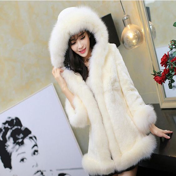 New Women Winter Medium Long style Hooded Faux Mink Fur&Leather Fur Collar Coat #fashioninus2015 #BasicCoat