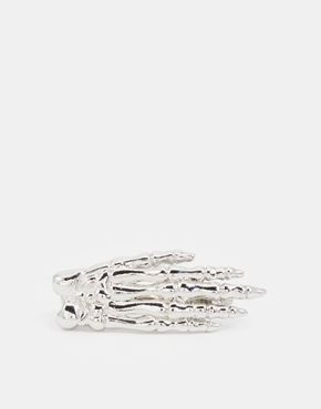 ASOS - Fermacravatta da Halloween in argento a mano di scheletro