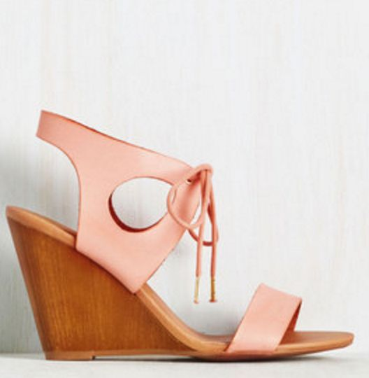 Peach Leather Cut-Out, Lace-Up Wedge