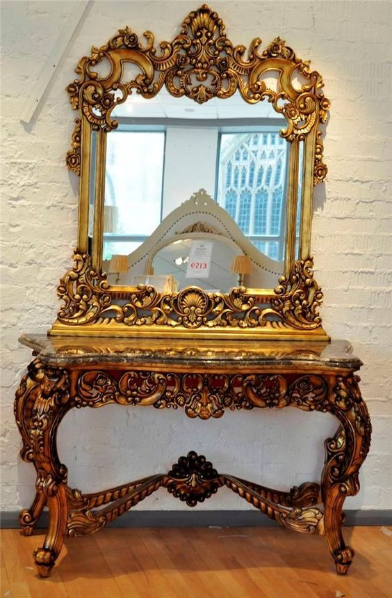 Solid mahogany old antique gold french marble ornate console table mirror pardon my french - Ornate hall table ...