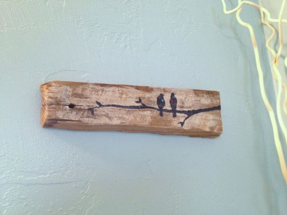 Love Birds On Branch~ Rustic Upcycled Barn Board Wood Wall