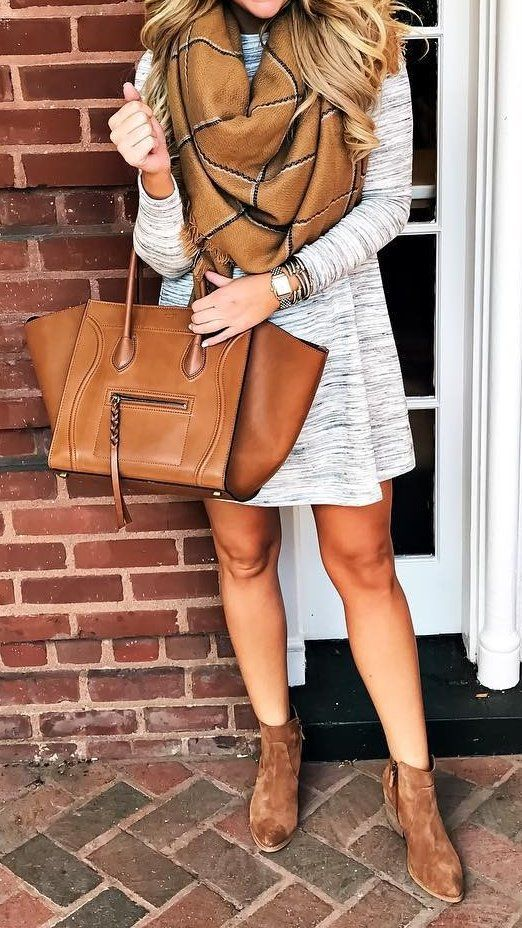 #fall #style  Print Scarf // Grey Dress // Suede Ankle Boots // Leather Tote: