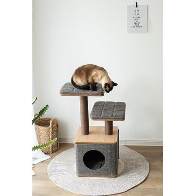 Petpals Petpals Scale 2 Level Cubic Cat Furniture In Grey Color Cat Tree Condo Pet Furniture Cat Furniture