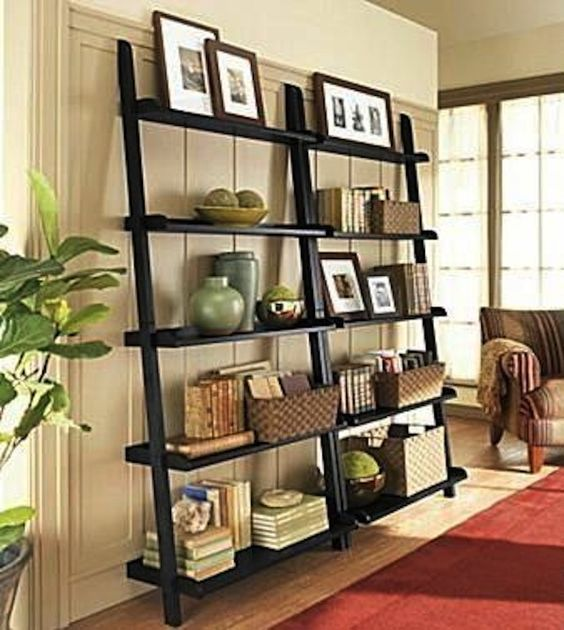 """DIY Ladder Bookshelves From """"Unique Bookshelves"""""""
