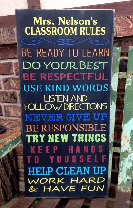 Personalized Classroom Rules Sign This would b neat for ur ...