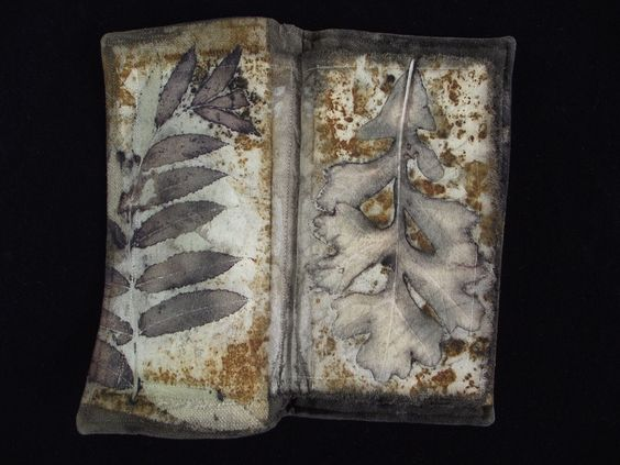 Jane Marie - he Laws of Remorse Restored    natural eco-print dyed textile art book, constructed w/ machine stitching, using Fugi silk broadcloth, silk noile, cotton batting, hand stitching embellishments, leaves, rust, graphite, linen thread